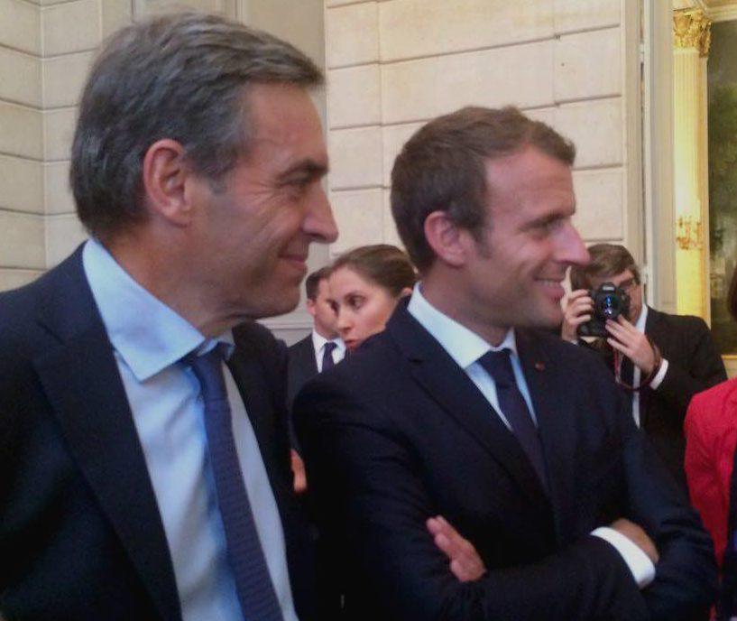 A l'Elysée en compagnie du président de la République, Emmanuel Macron